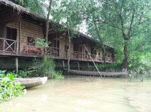 Our very basic accommodations above the Mekong